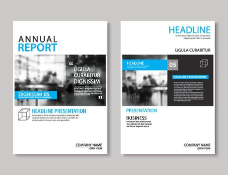 Blue annual report brochure template A4 size design. Can be use