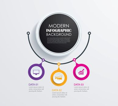 Abstract 3 circle infographics number options template. Vector i