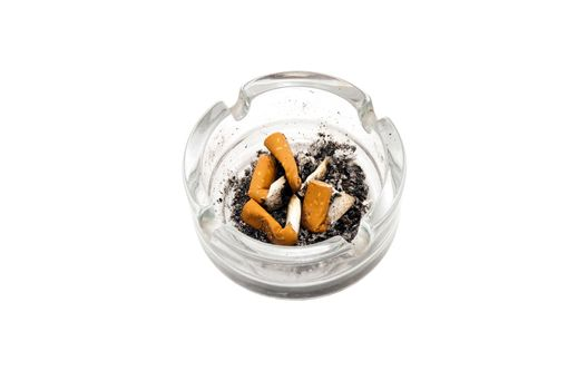 ashtray with butts isolated on white background