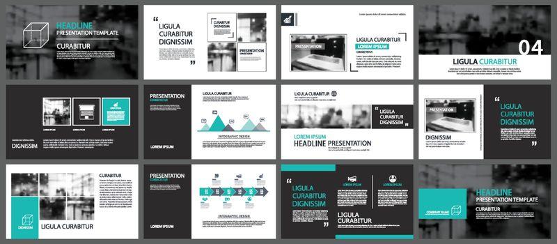 Green element for slide infographic on background. Presentation