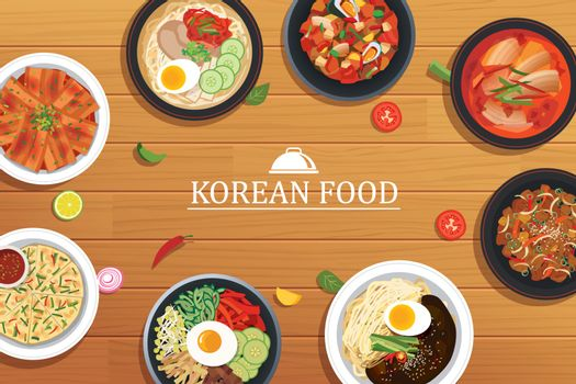 korean food on a wooden table background. Vector illustration to