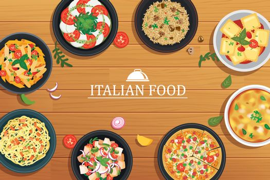 Italian food on a wooden table background. Vector illustration t