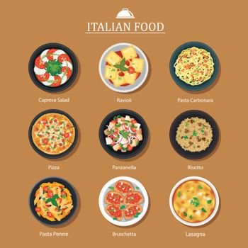 Set of italian food flat design. Vector illustration background.