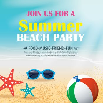 Summer beach party invitation poster with element and blue water