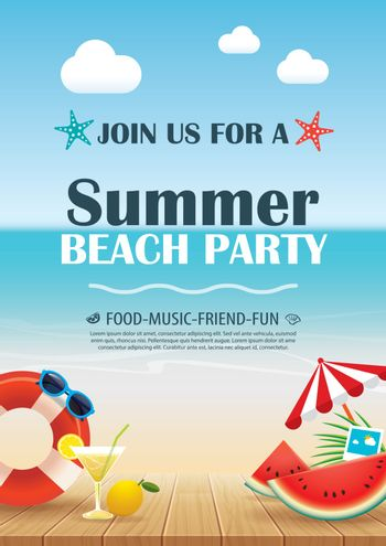Beach party invitation poster with vacation element wooden and b