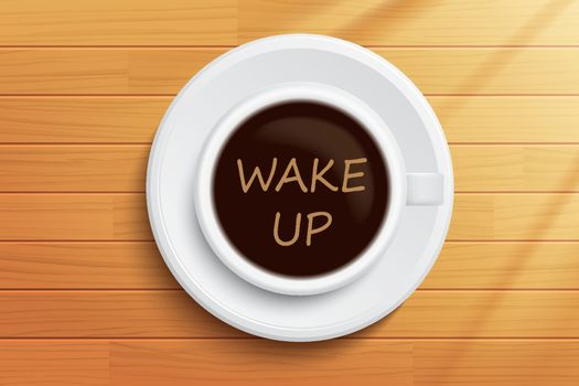 Good morning coffee wake up concept on wooden table.