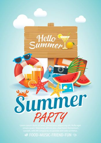 summer beach party invitation poster background elements and woo
