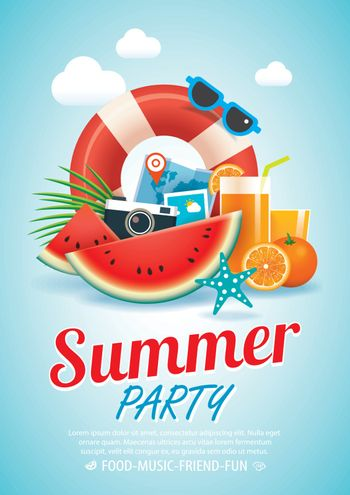 summer beach party invitation poster background and elements in