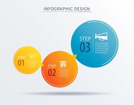infographics circle number 3 step template. Vector illustration