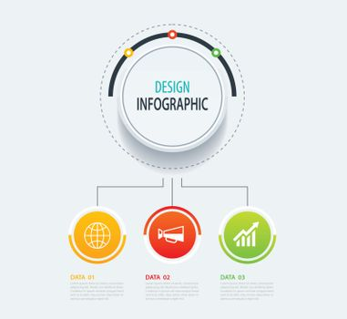 3 abstract circle infographic number business options template.