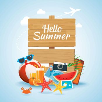 hello summer time travel season banner design and colorful beach