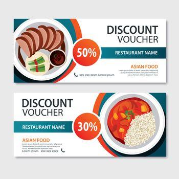 Discount voucher asian food template design. Chinese set