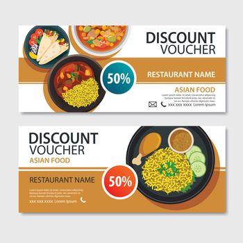 Discount voucher asian food template design. Indian set