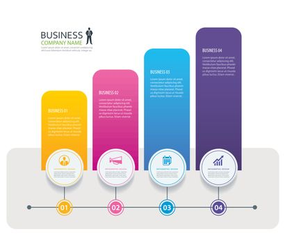 Infographic 4 tab design vector and marketing template business.