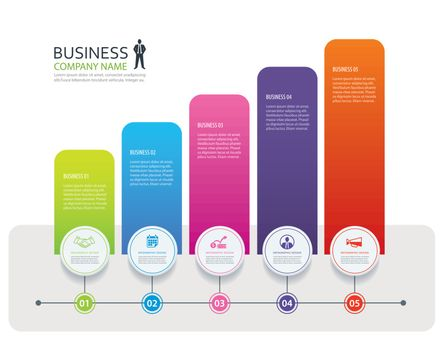 Infographic 5 tab design vector and marketing template business.