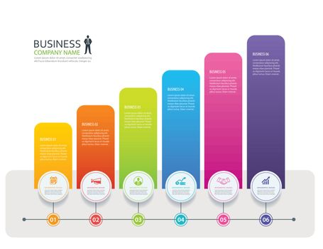 Infographic 6 tab design vector and marketing template business.