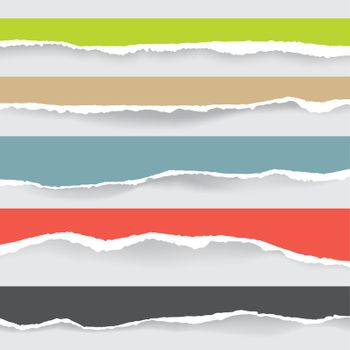 set of multicolor ripped paper and transparent background with s