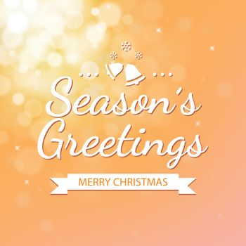 Season greetings with gold bokeh defocused background for christ