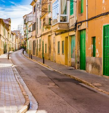 Mallorca Spain, street in the old town of Felanitx