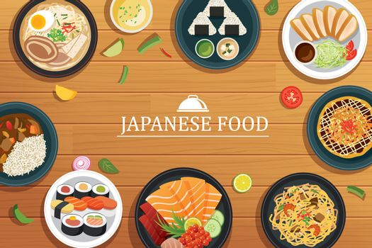 japanese food on a wooden background.Vector japanese food top vi