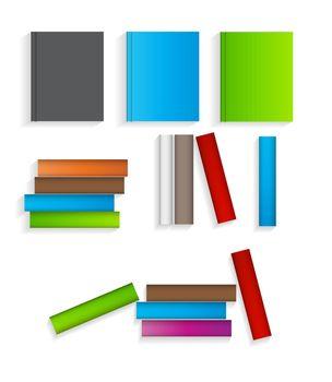 Books Flat Icons Set  Vector Illustration