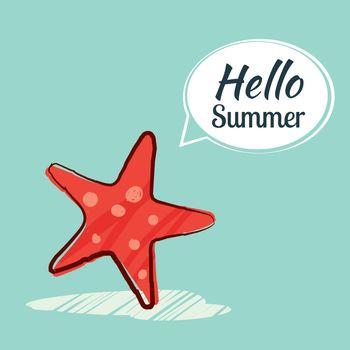Hand drawing hello summer card.