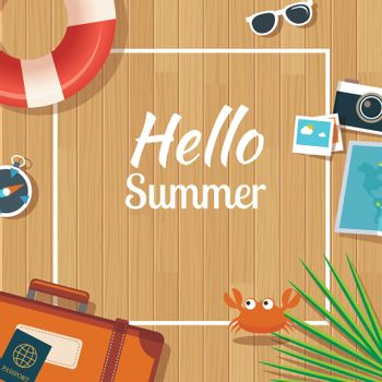 Summer traveling template with wooden background