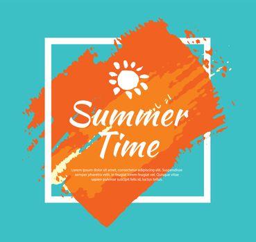Summer banner brush painting design template