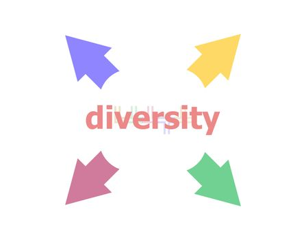 Text Diversity. Business concept . Arrow with word diversity