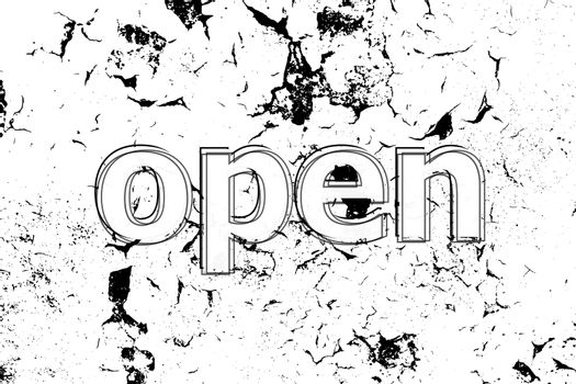 Text Open. Security concept . Painted word on white black vintage old background