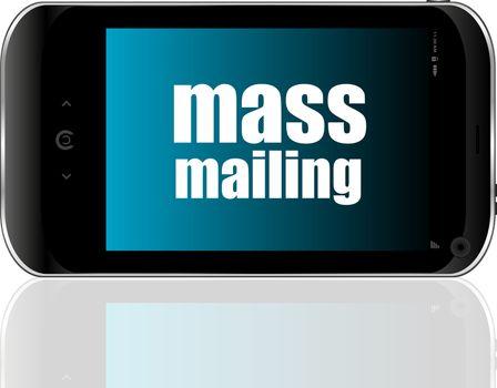 Text mass mailing. Management concept . Detailed modern smartphone
