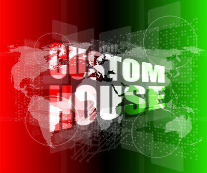 custom house words on digital screen with world map