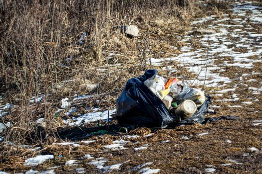 Plastic garbage bags thrown out in nature among grass. Sunny spring evening. The concept of ecology and environmental pollution.