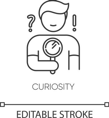 Curiosity pixel perfect linear icon. Personal quality thin line customizable illustration. Contour symbol. Curious person holding magnifying glass. Vector isolated outline drawing. Editable stroke