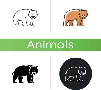 Brown bear icon. Linear black and RGB color styles. Large carnivore predator, dangerous woodland creature, forest inhabitant. Common nordic fauna. Grizzly bear isolated isolated vector illustrations