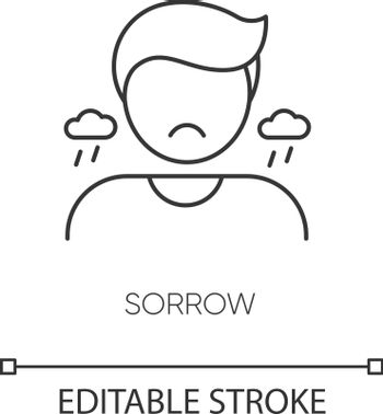 Sorrow pixel perfect linear icon. Sadness, grief and depression thin line customizable illustration. Contour symbol. Sorrowful, upset person vector isolated outline drawing. Editable stroke