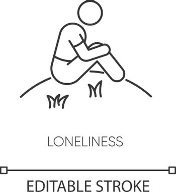Loneliness pixel perfect linear icon
