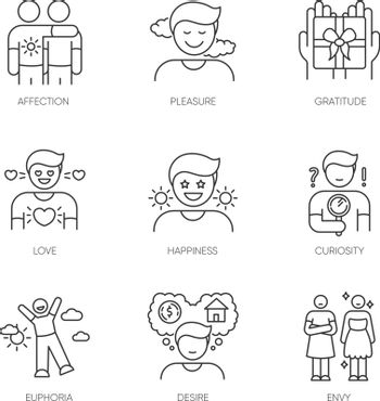 Feelings and emotions pixel perfect linear icons set