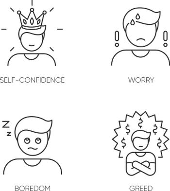 Negative feelings and bad traits pixel perfect linear icons set