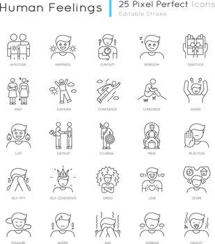 Human feelings pixel perfect linear icons set