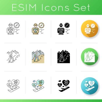 Travel and recreation icons set