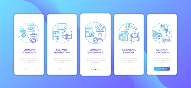 Corporation registration phases onboarding mobile app page screen with concepts