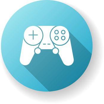 Gamepad blue flat design long shadow glyph icon