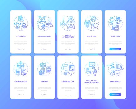 Corporation players onboarding mobile app page screen with concepts set