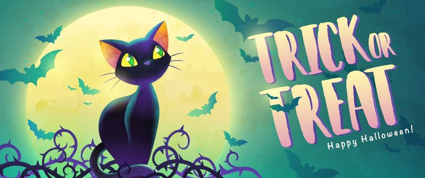 Happy Halloween invitation. Holiday trick or treat banner. Cartoon black cat and bat on the full moon background. Greeting card. Watercolor design. Vector illustration.