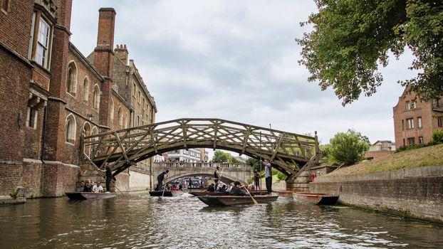 UK, Cambridge - August 2018: Mathematical bridge, from the river Cam