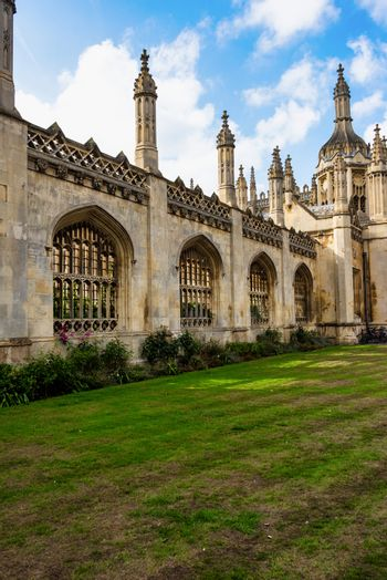 UK, Cambridge - August 2018: Front entrance to Kings College