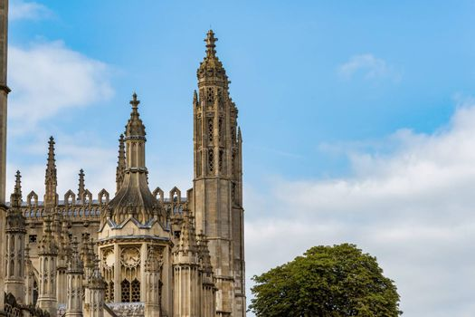 UK, Cambridge - August 2018: Spires of Kings College Chapel, Front