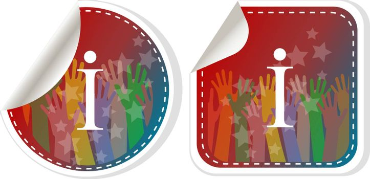 Info logo icon design template elements. Information speech bubble sign icon . Letter I web button sybmol design