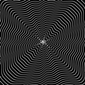 Black and White Hypnotic Background. Vector Illustration